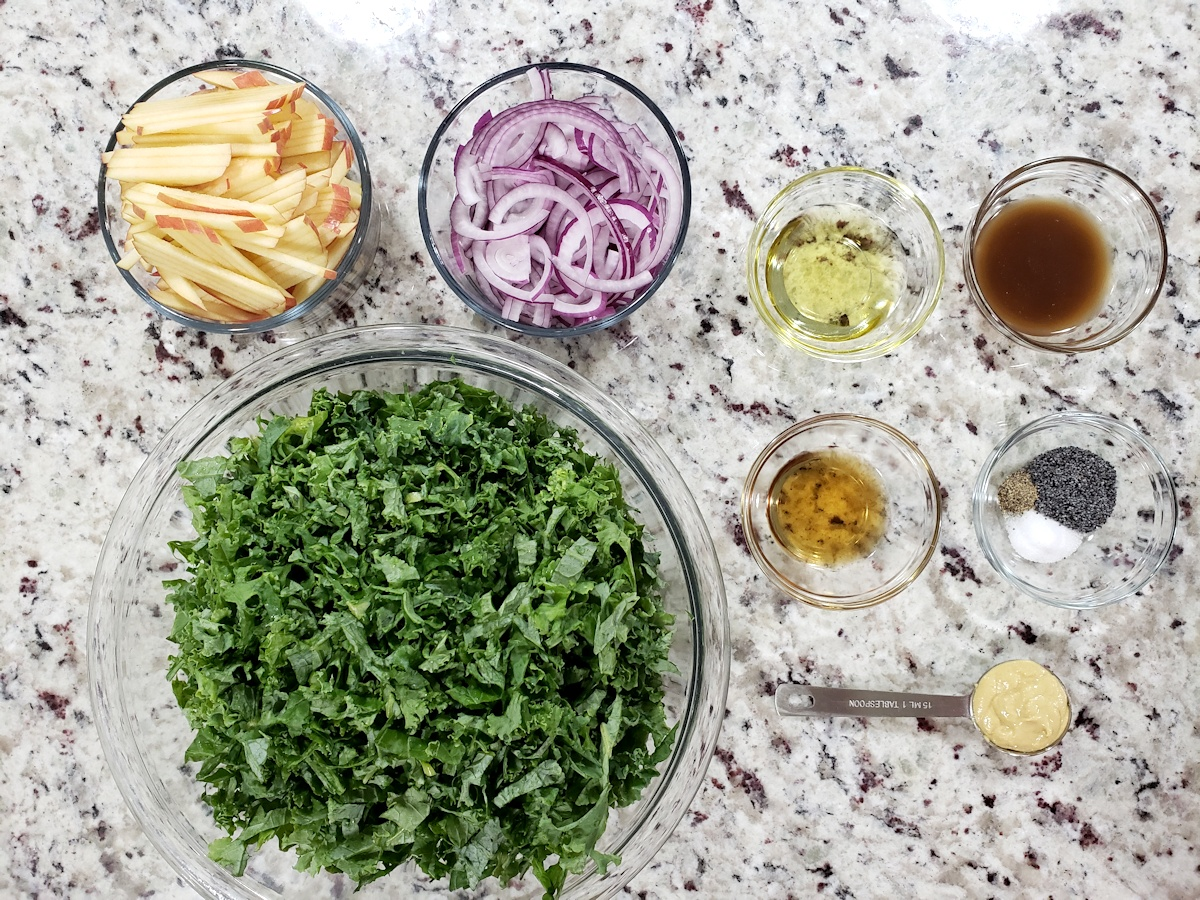 Salad ingredients on a counter top.