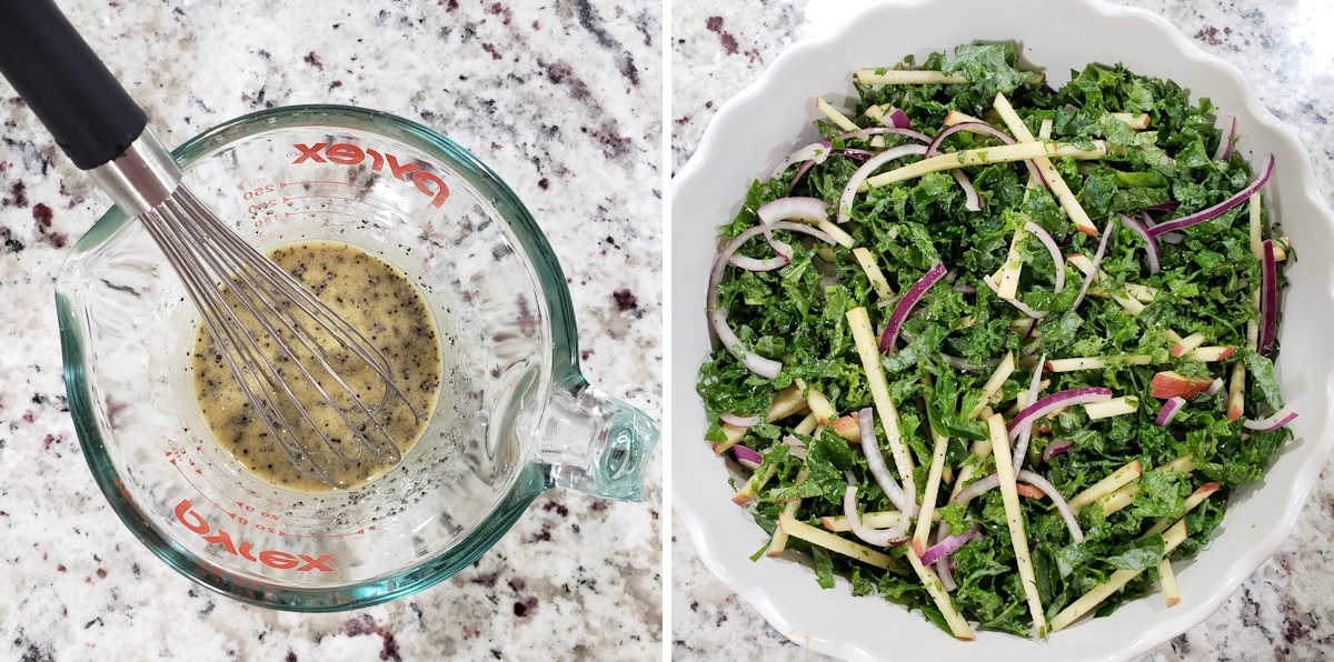 Tossing a salad with poppy seed vinaigrette.