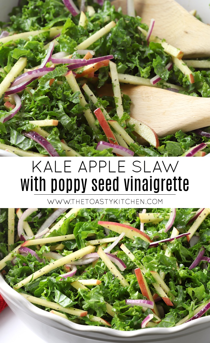 Kale Apple Slaw with Poppy Seed Vinaigrette by The Toasty Kitchen