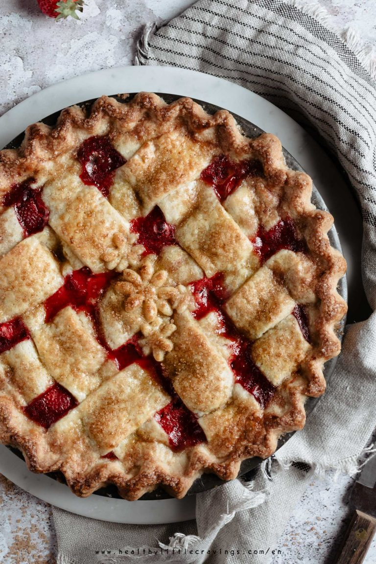 Strawberry pie topped with a lattice crust.