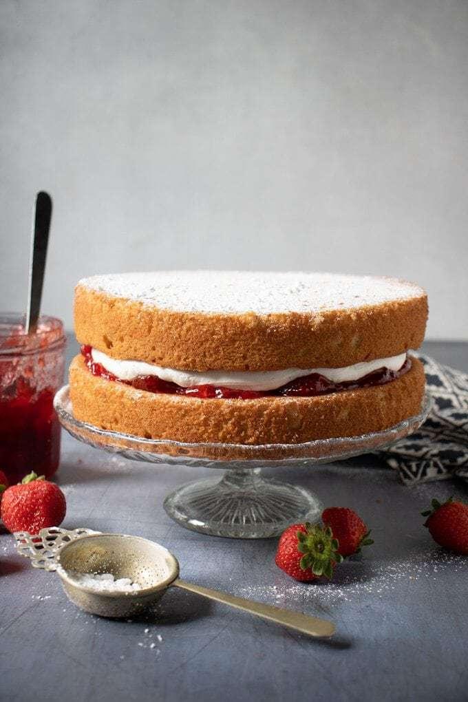 Layer cake on a pedestal.
