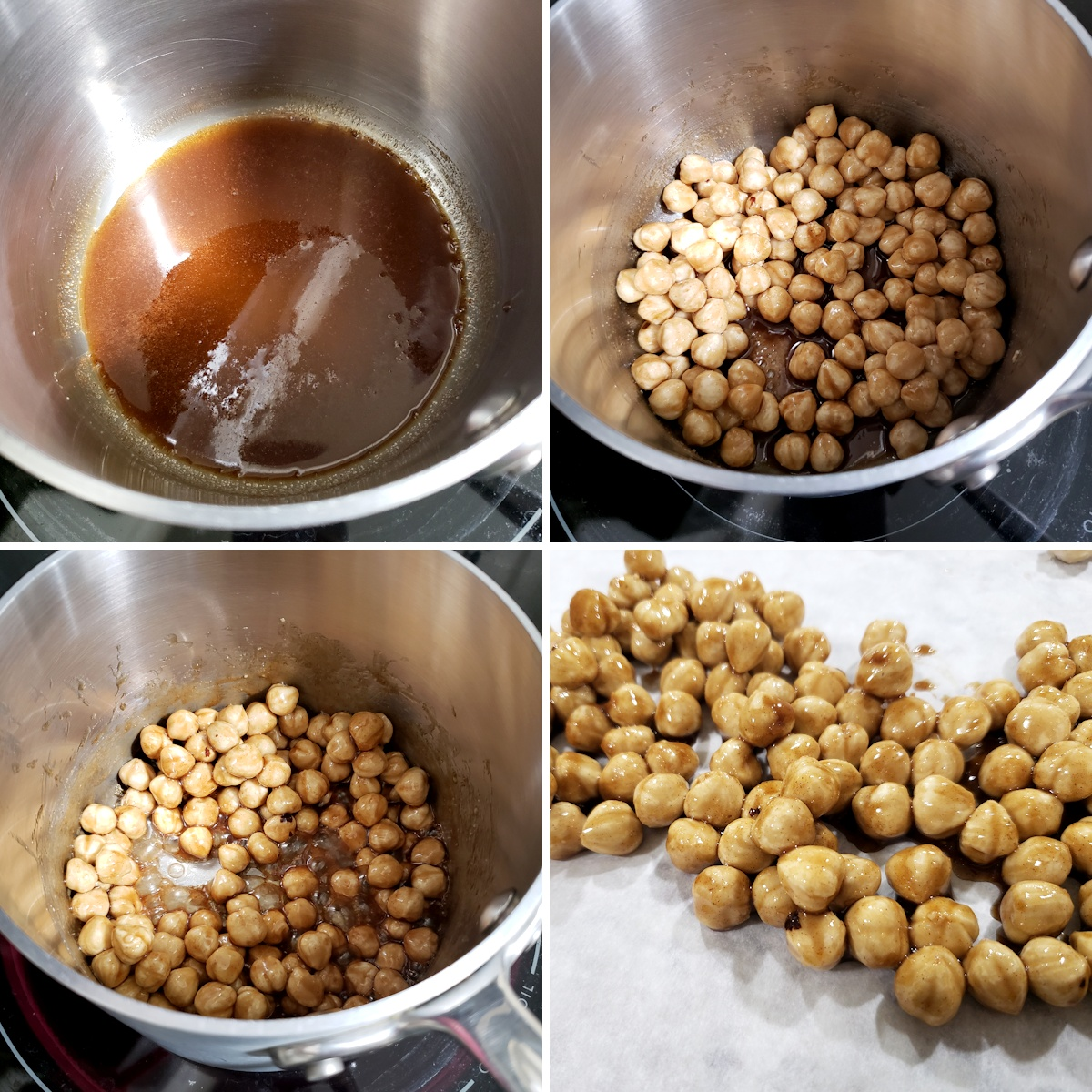 Melting sugar in a saucepan and coating hazelnuts in sugar coating.