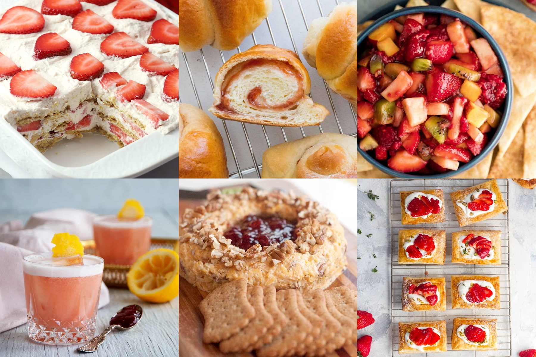 A collage of foods using strawberry jam as an ingredient.