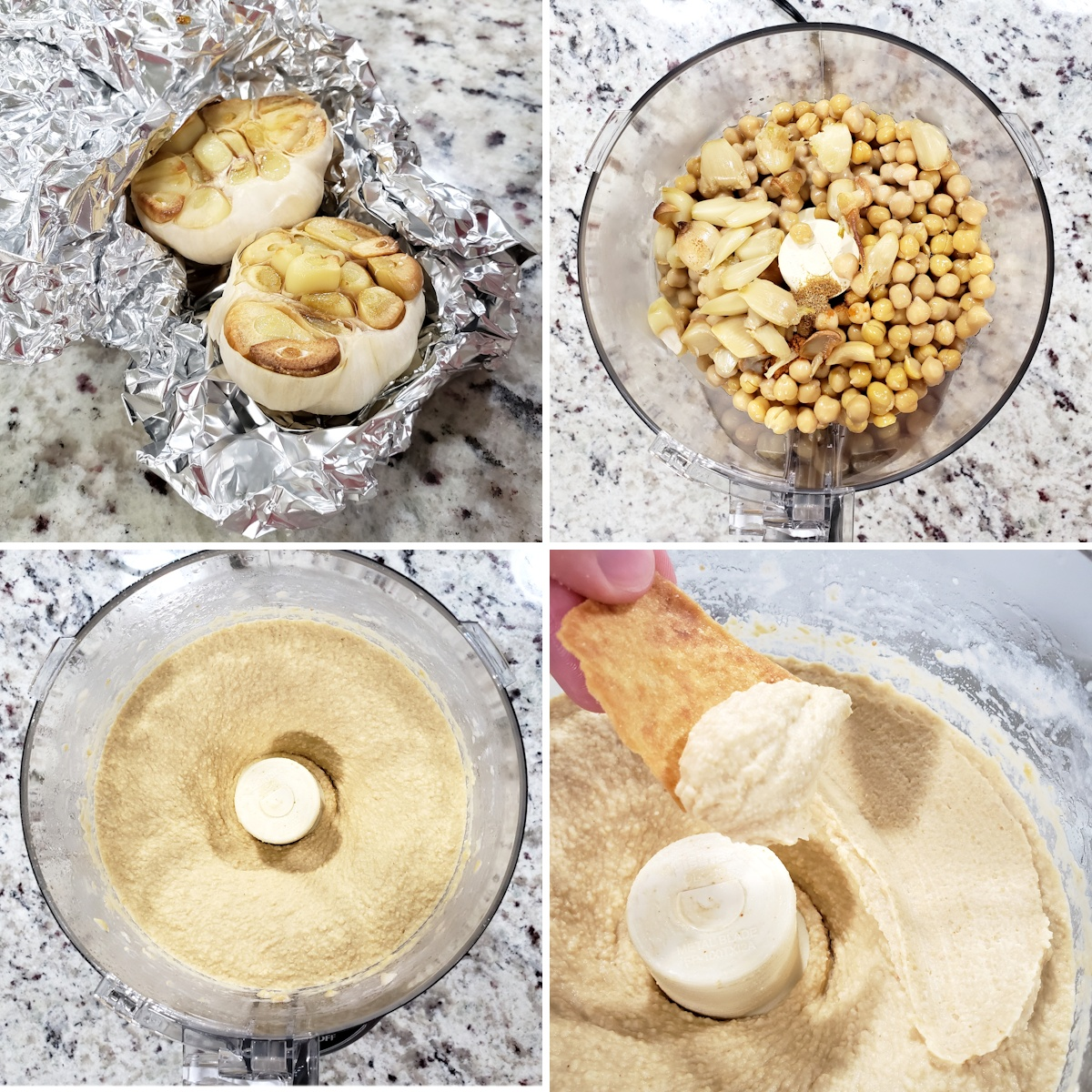 Blending together hummus in a food processor.