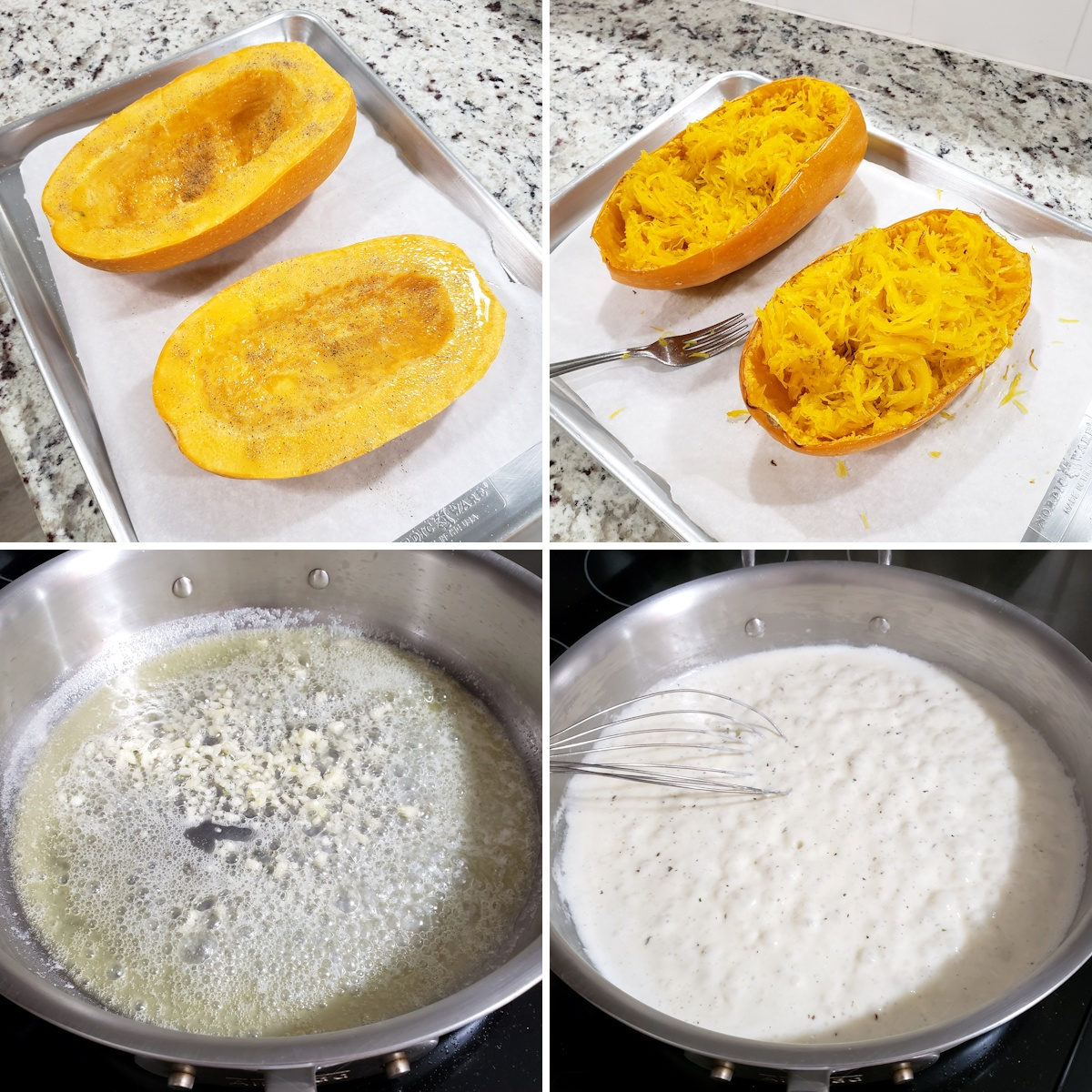 Roasting a spaghetti squash and cooking an alfredo sauce in a saute pan.