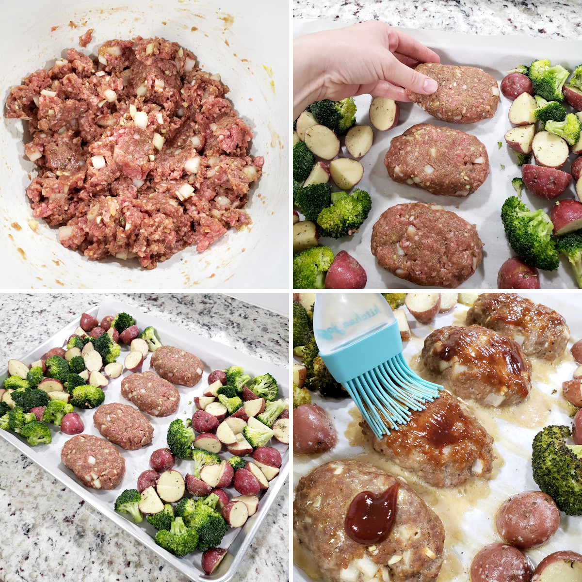 Assembling mini meatloaves on a sheet pan.