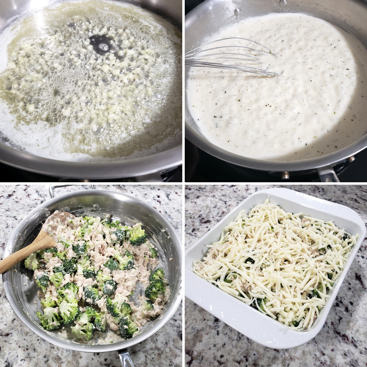 Assembling a tuna broccoli casserole.