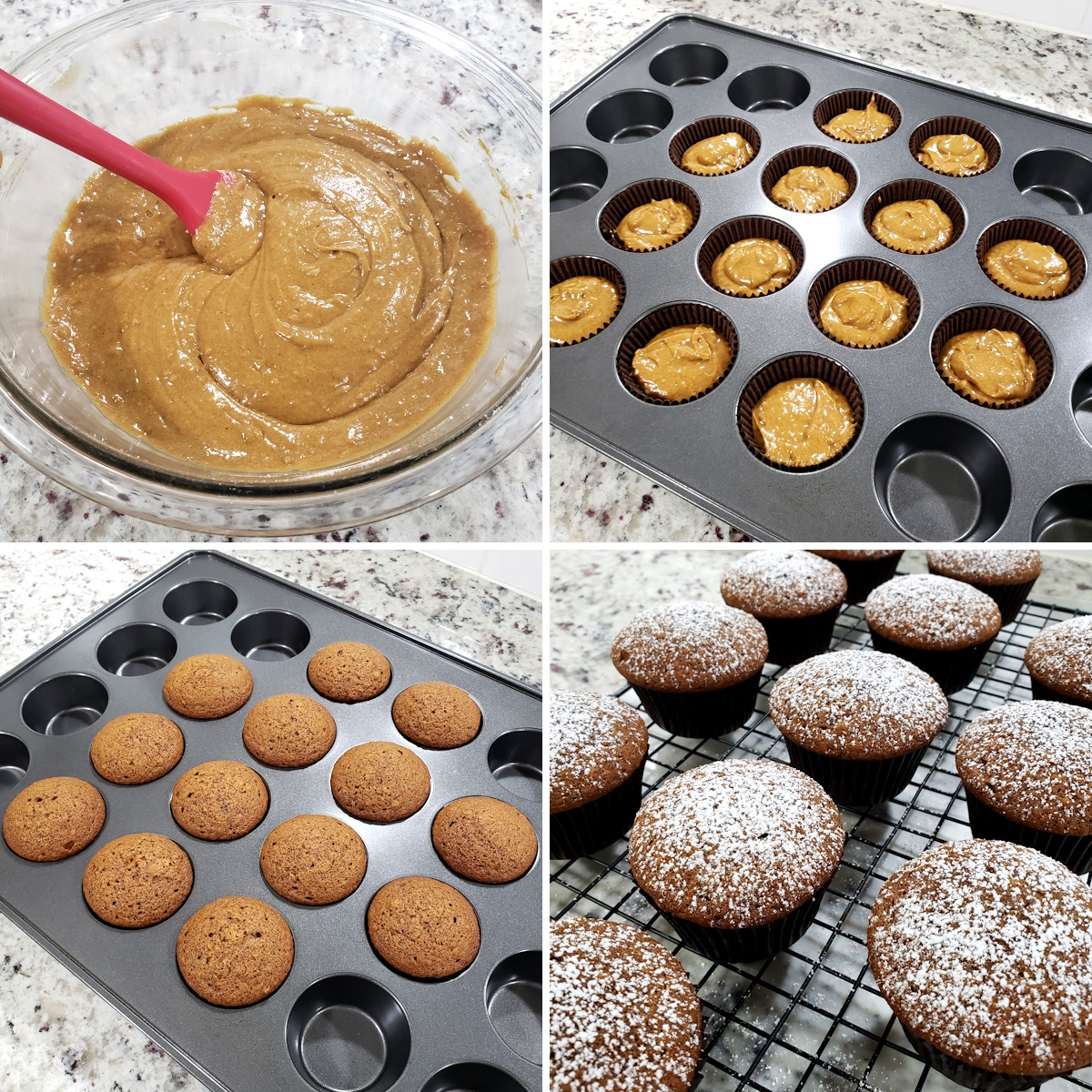 Baking gingerbread muffins in a muffin pan.