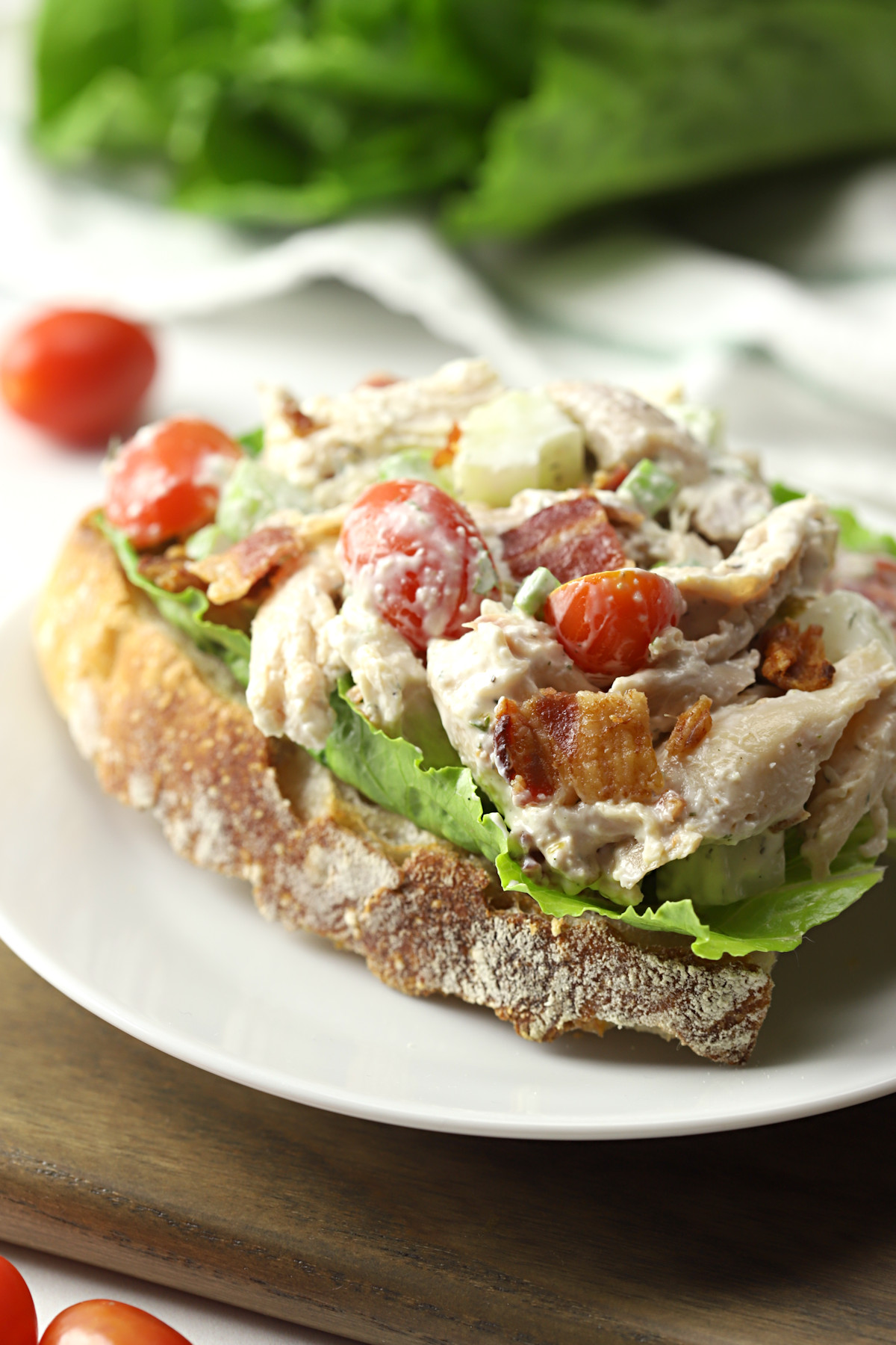 BLT chicken salad on a piece of crusty bread.