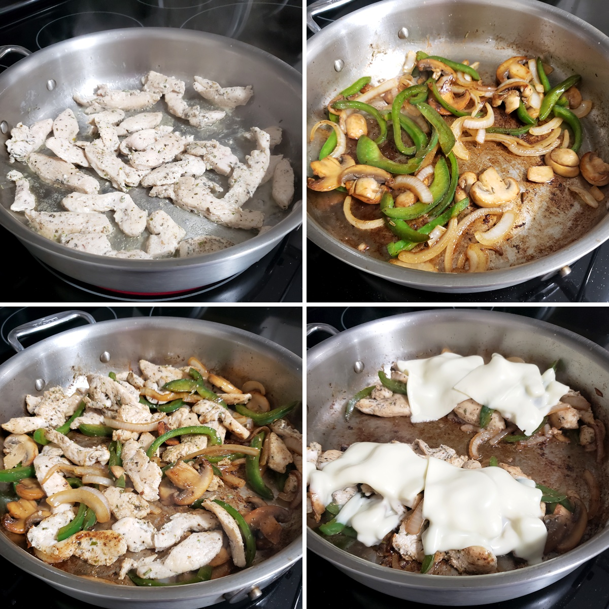 Cooking chicken cheesesteaks in a saute pan.