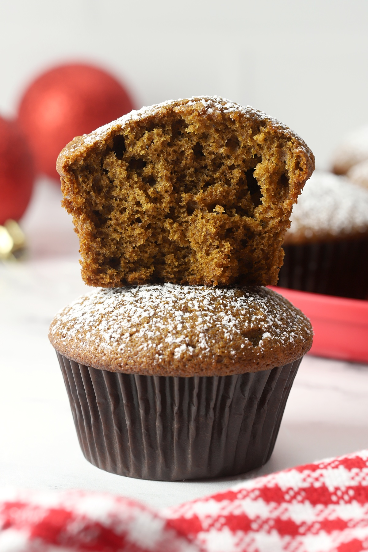 Muffins stacked on top of each other.