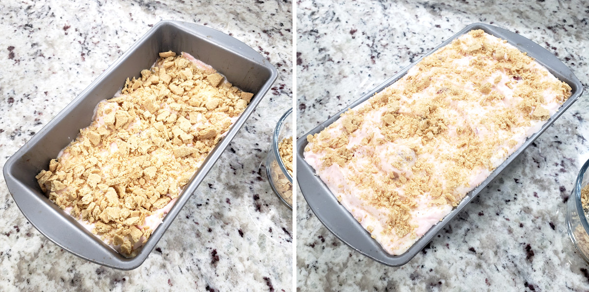 Layering ice cream and graham crackers in a loaf pan.