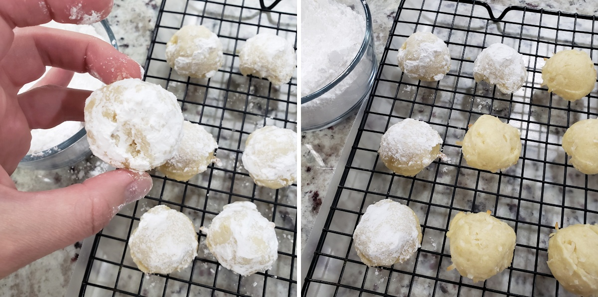 Coating round cookies in confectioner's sugar.