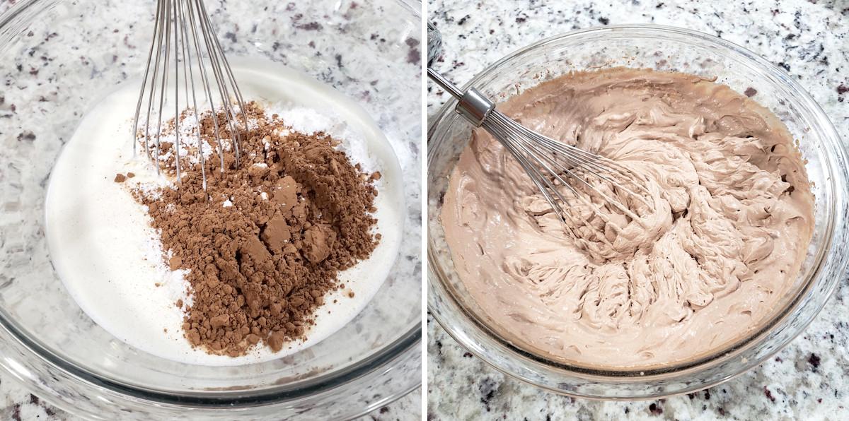 Making chocolate whipped cream.