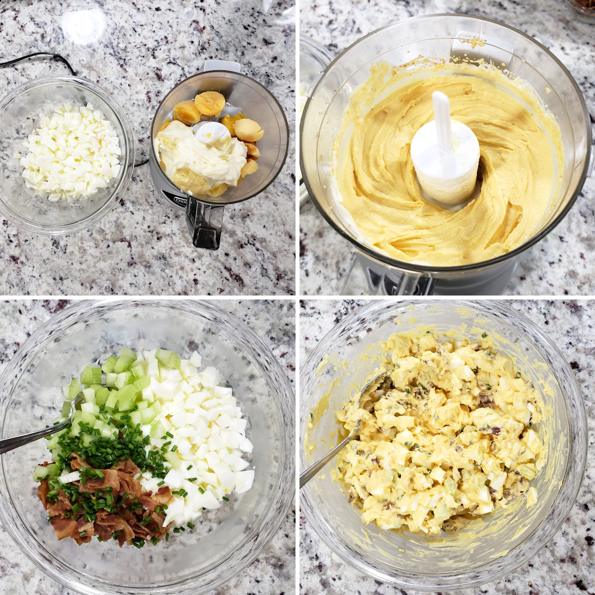 Mixing egg salad together.