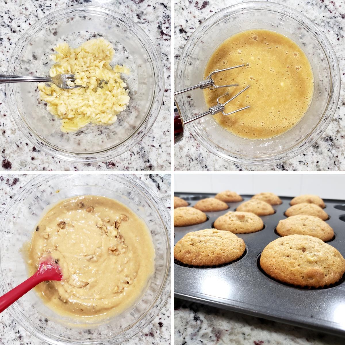 Mixing banana nut muffin batter.