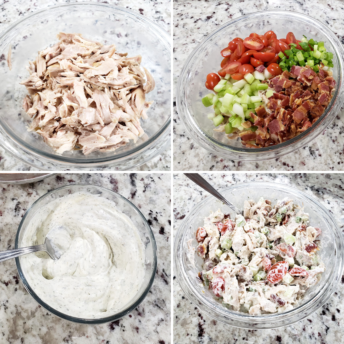 Mixing BLT chicken salad together.