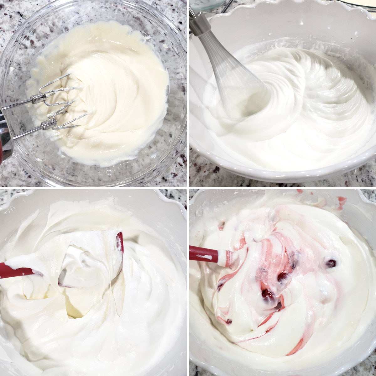 Mixing no churn ice cream ingredients together.