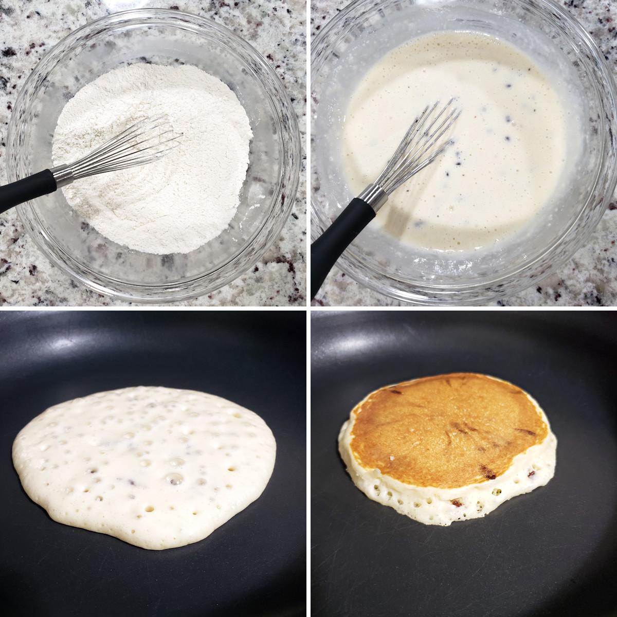 Mixing pancake batter and making a pancake in a skillet.