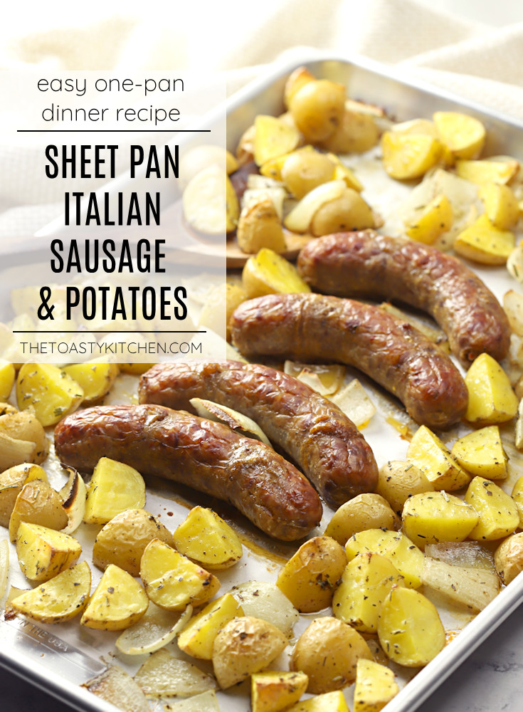 Sheet pan Italian sausage and potatoes recipe.