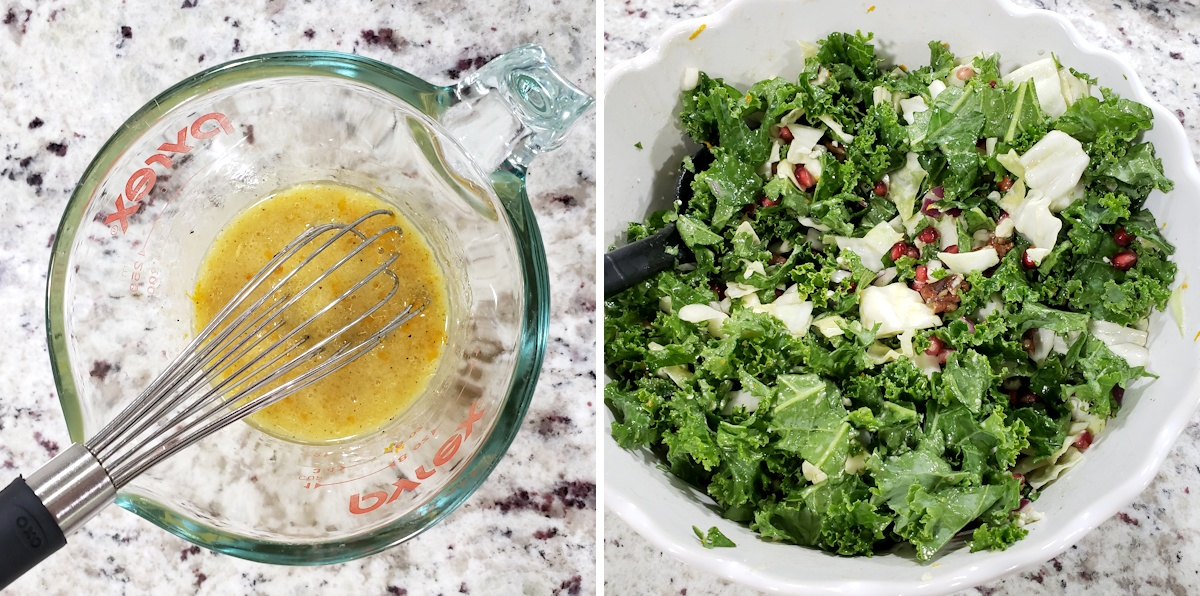 Salad dressing in a bowl with a whisk, and salad in a second bowl.