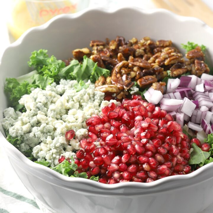 Pomegranate arils, blue cheese, candied pecans, and red onions sit on top of a bowl of kale.