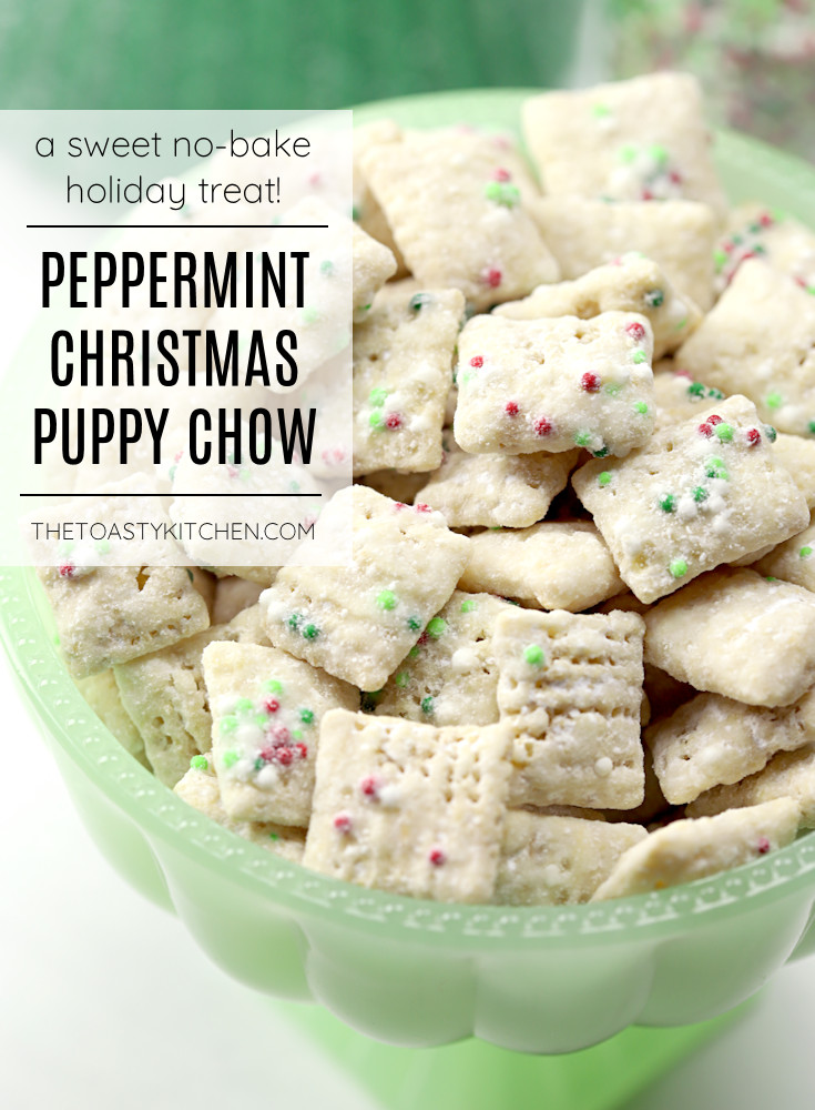 Peppermint Christmas puppy chow snack mix recipe.