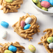 Butterscotch haystacks with robin's egg candies on top.