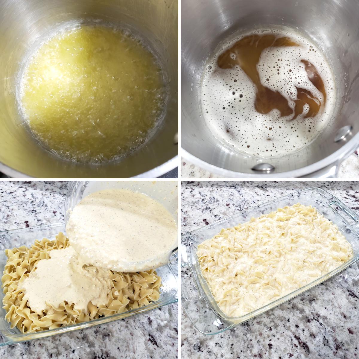 Assembling brown butter noodle kugel.