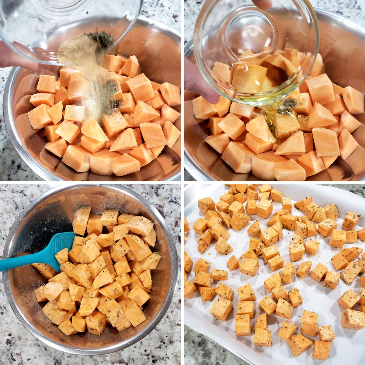 Preparing cubed sweet potatoes for roasting.