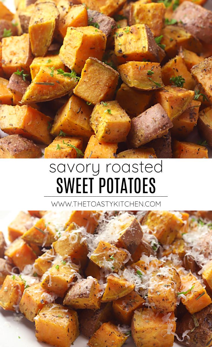 Savory roasted sweet potatoes recipe.