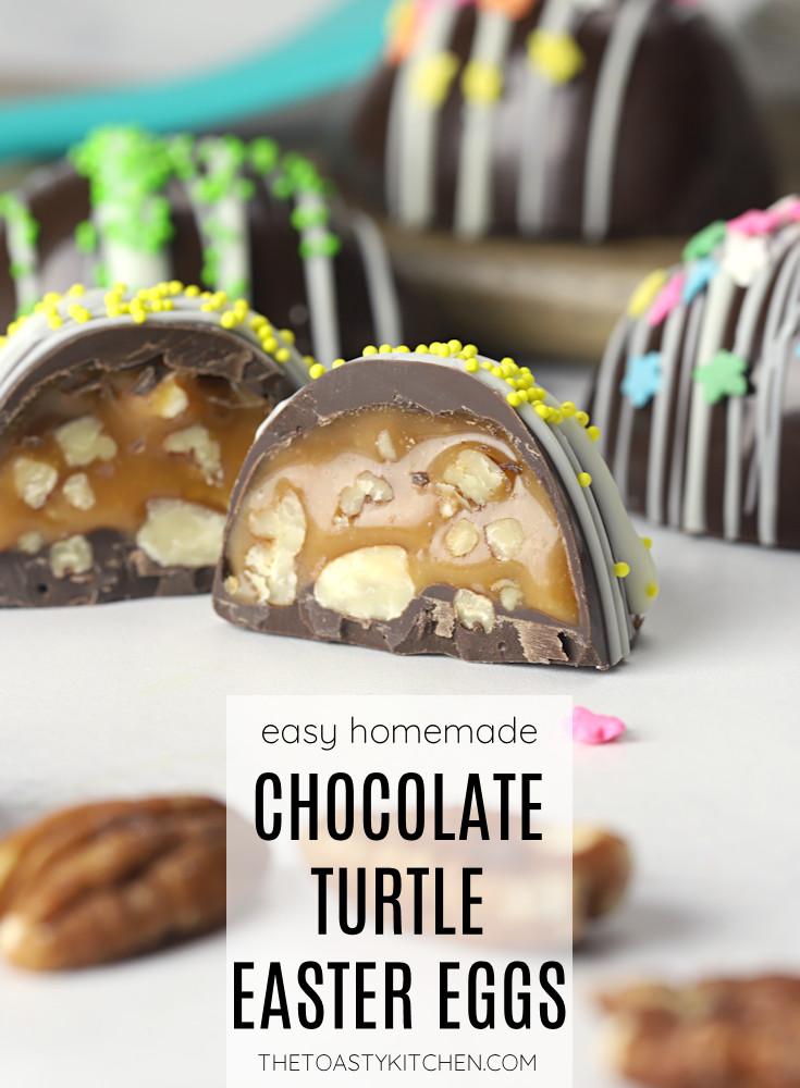 Chocolate turtle Easter eggs recipe.