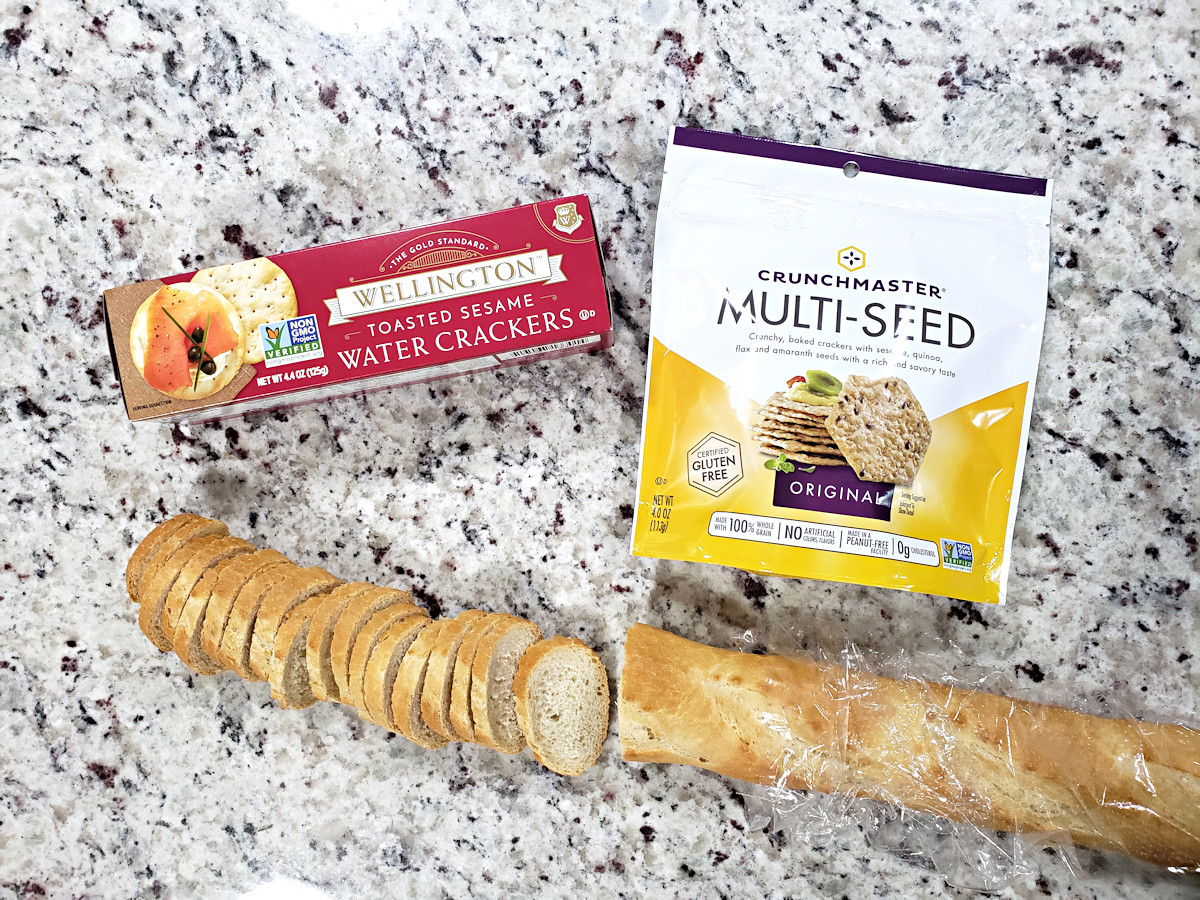 Crackers and bread for Easter charcuterie board.