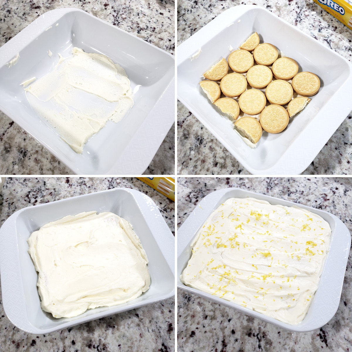 Assembling layers of an icebox cake.