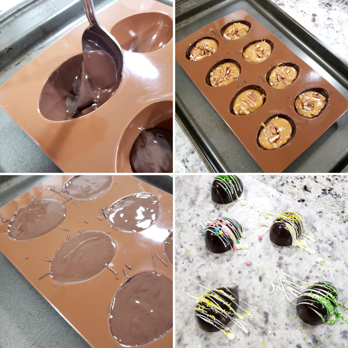 Making chocolate easter eggs in a candy mold.