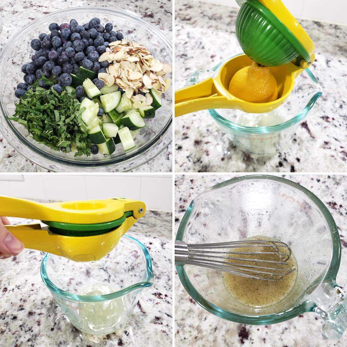 Squeezing a lemon and making salad dressing.