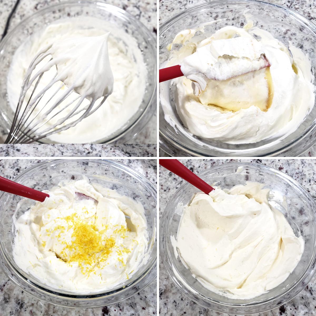 Preparing lemon mousse in a glass bowl.