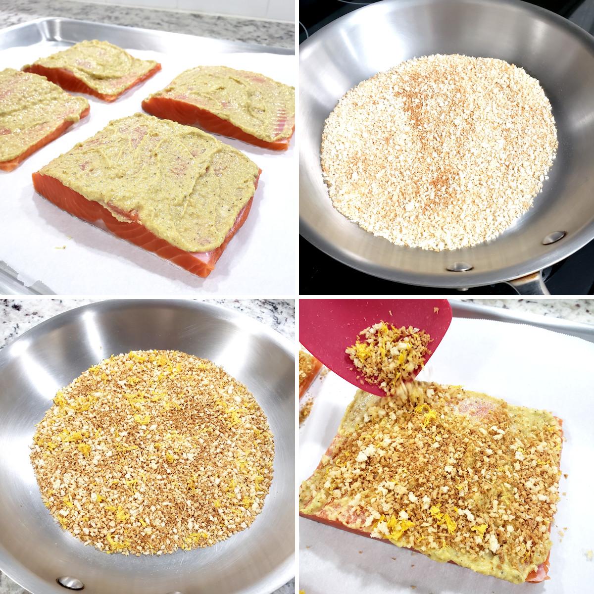 Preparing panko crusted salmon.