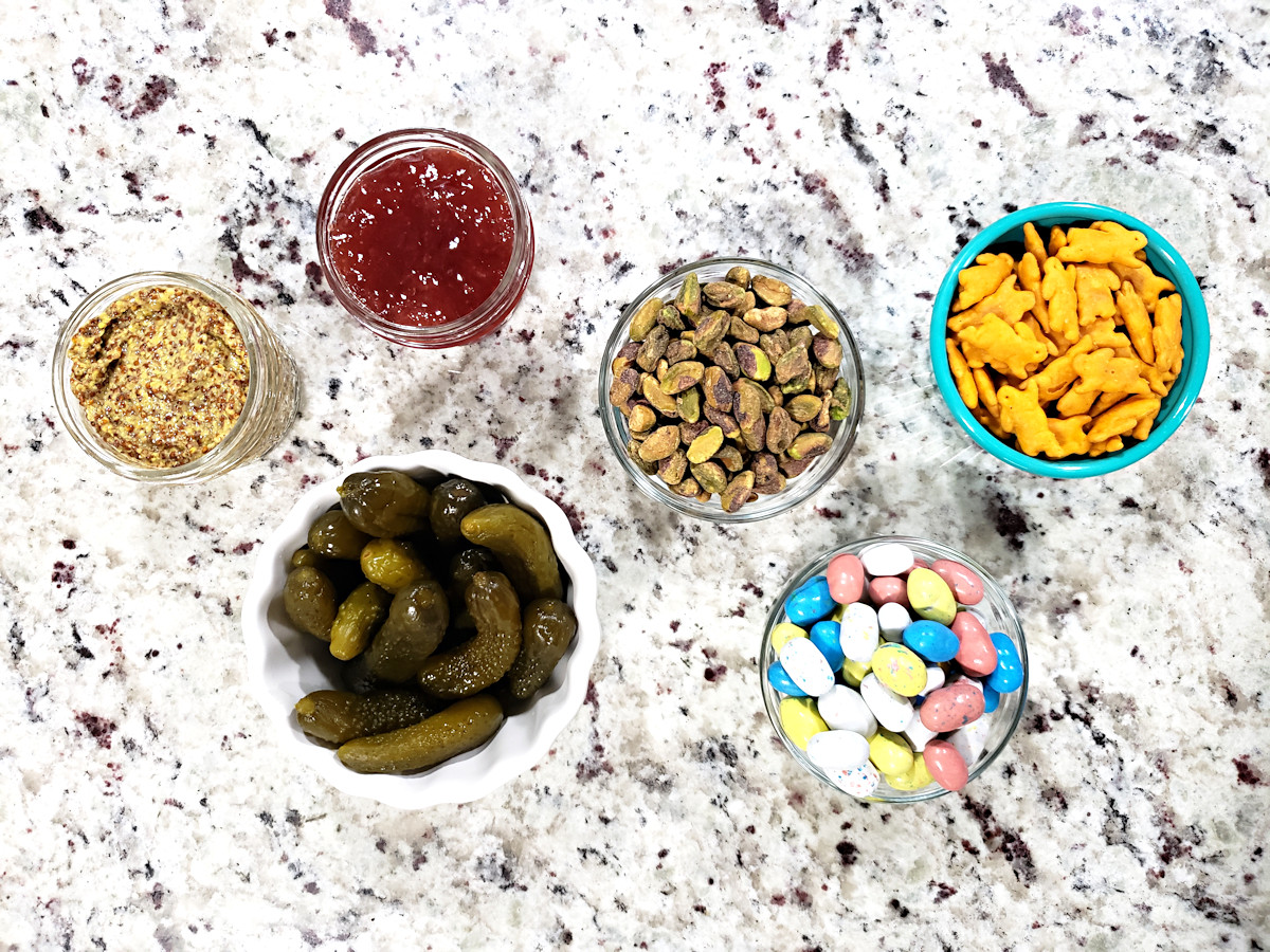 Jam, mustard, and seasonal snacks to add to an appetizer board.