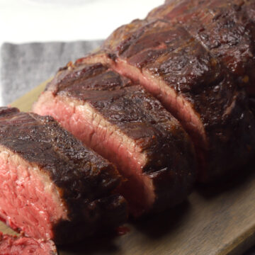 Slow roasted beef tenderloin sliced into servings.