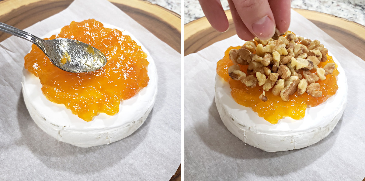 Topping baked brie with apricot jam and walnuts.