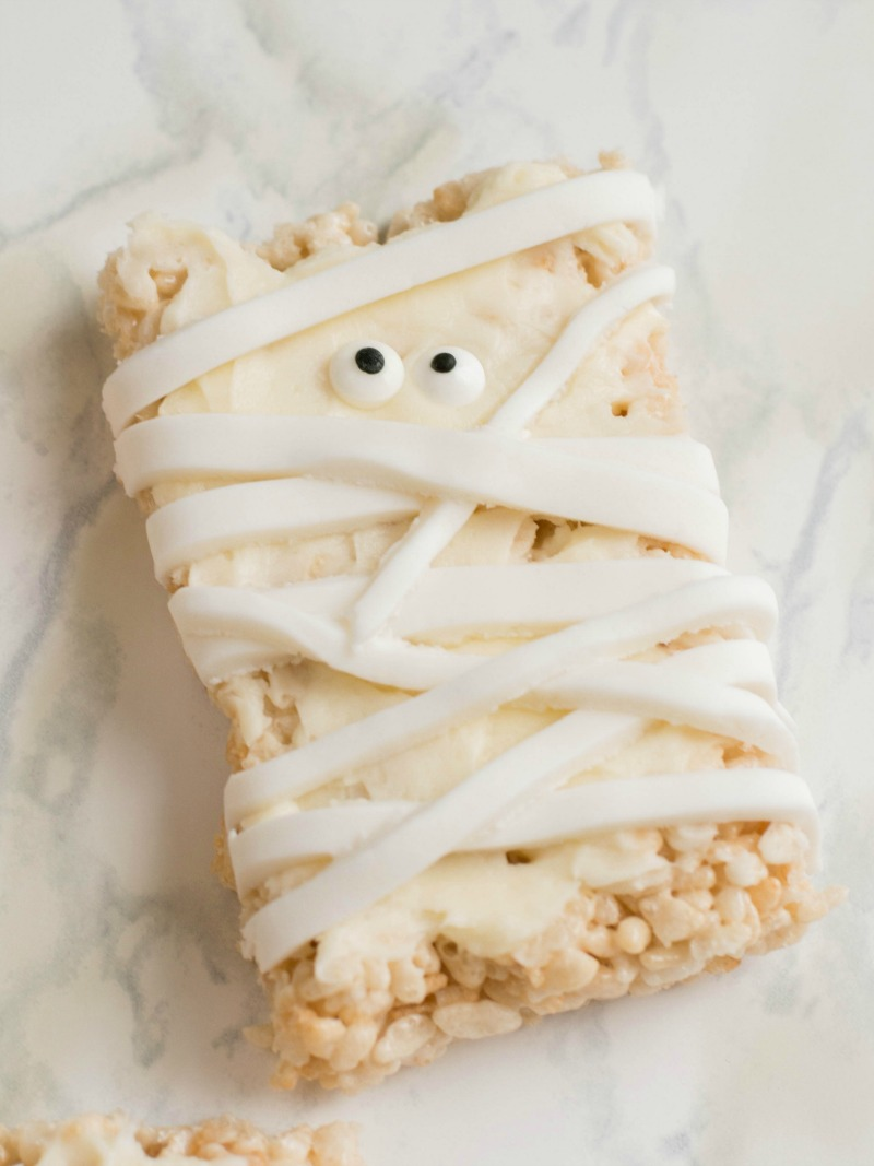 Rice krispies treat decorated like a mummy.