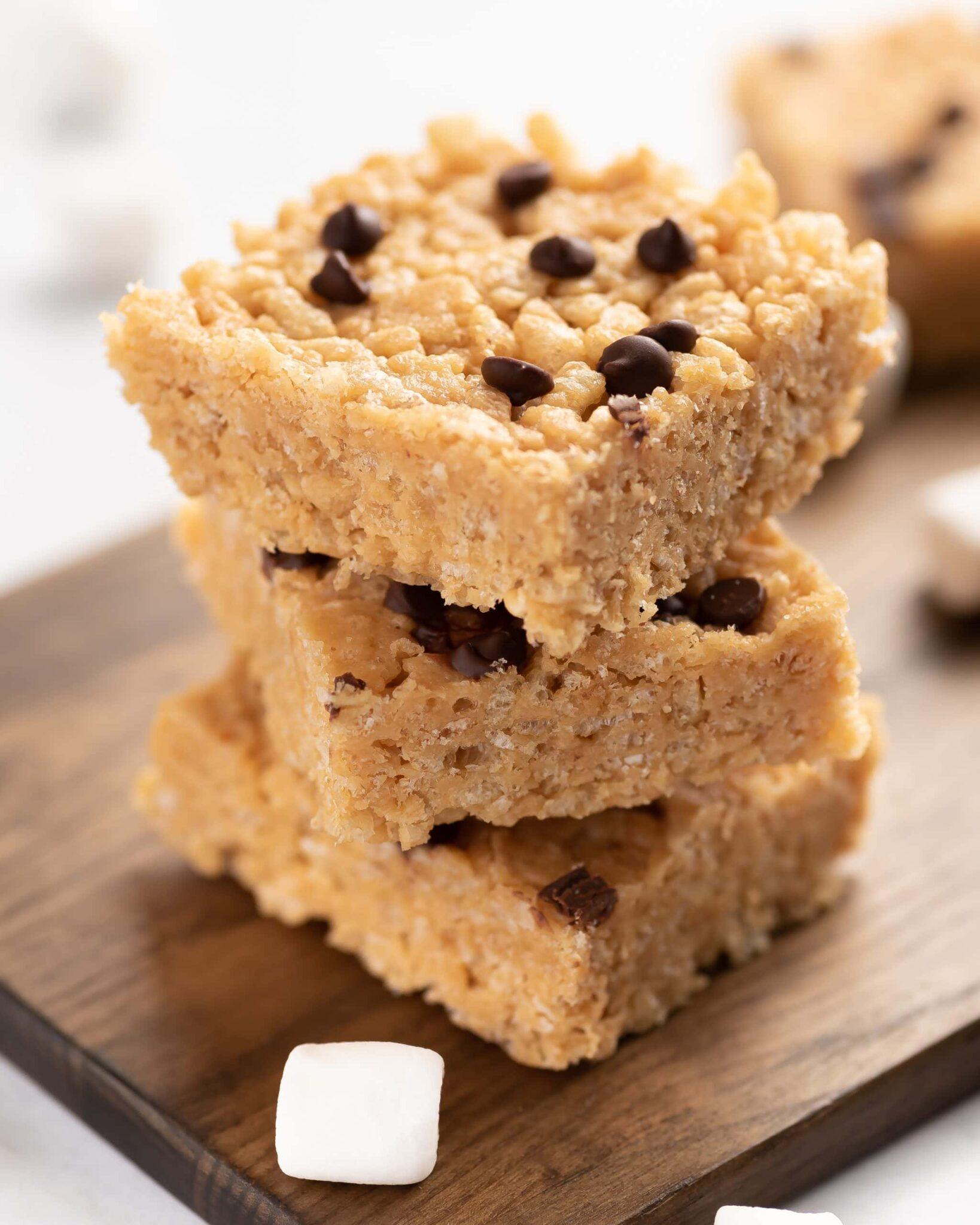 Rice krispies treats topped with mini chocolate chips.