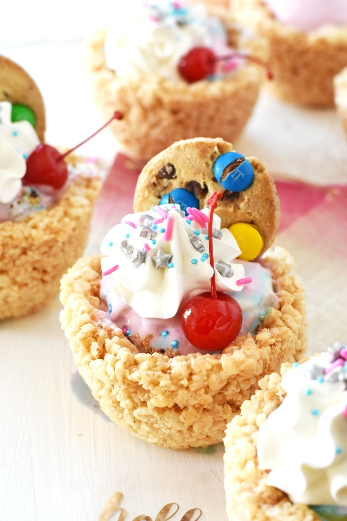 Rice krispies treat bowl filled with ice cream.