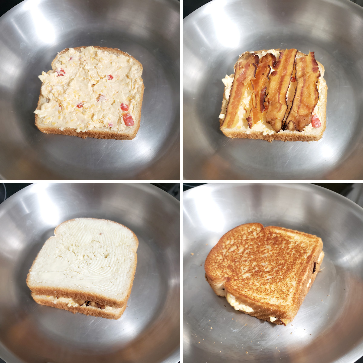 Cooking grilled cheese in a skillet.