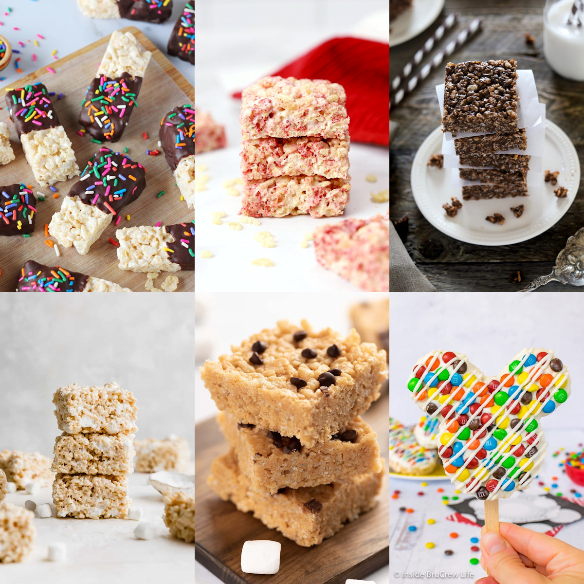 A collage of different flavors of rice krispies treats.
