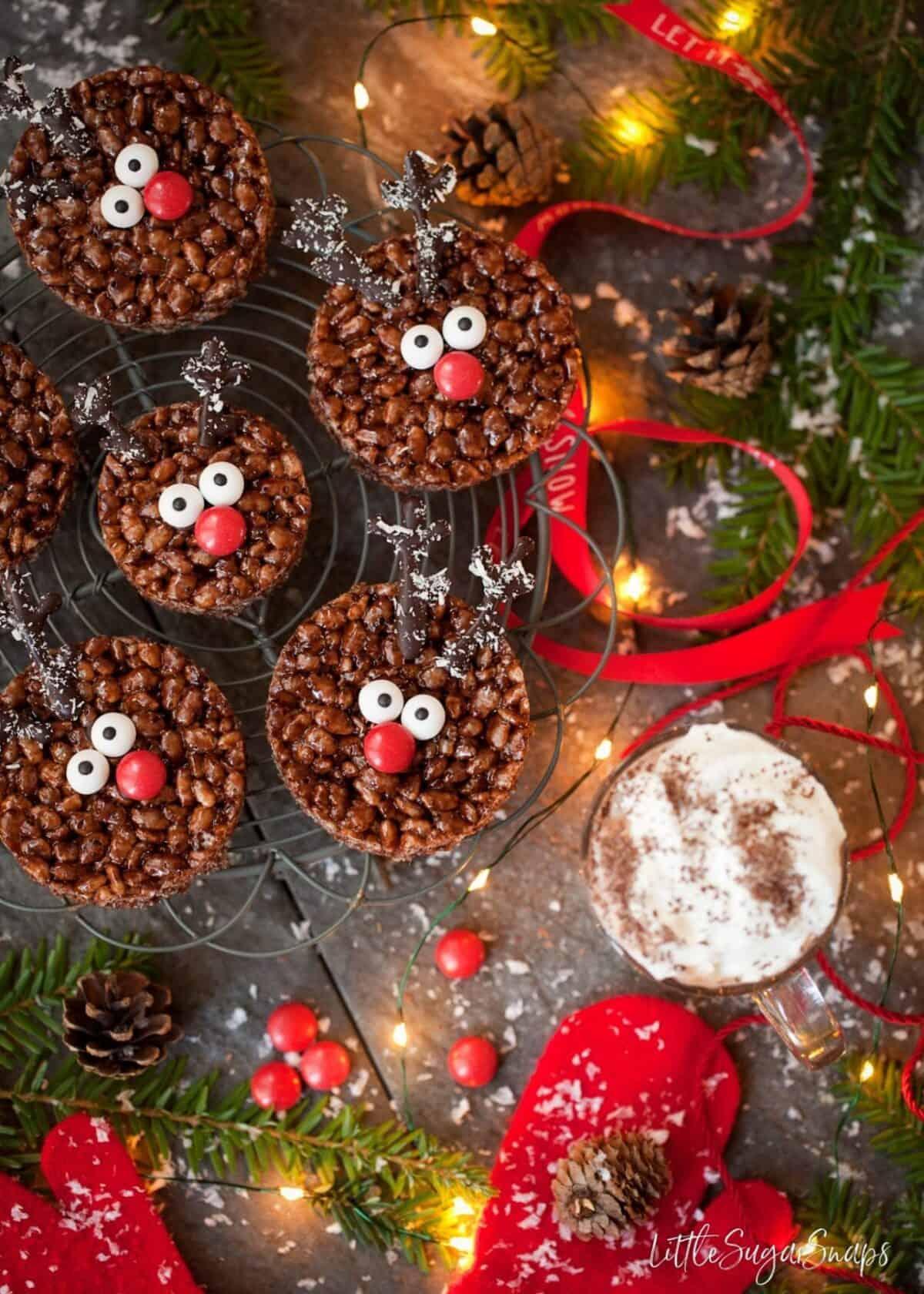 Round chocolate treats decorated like reindeer.