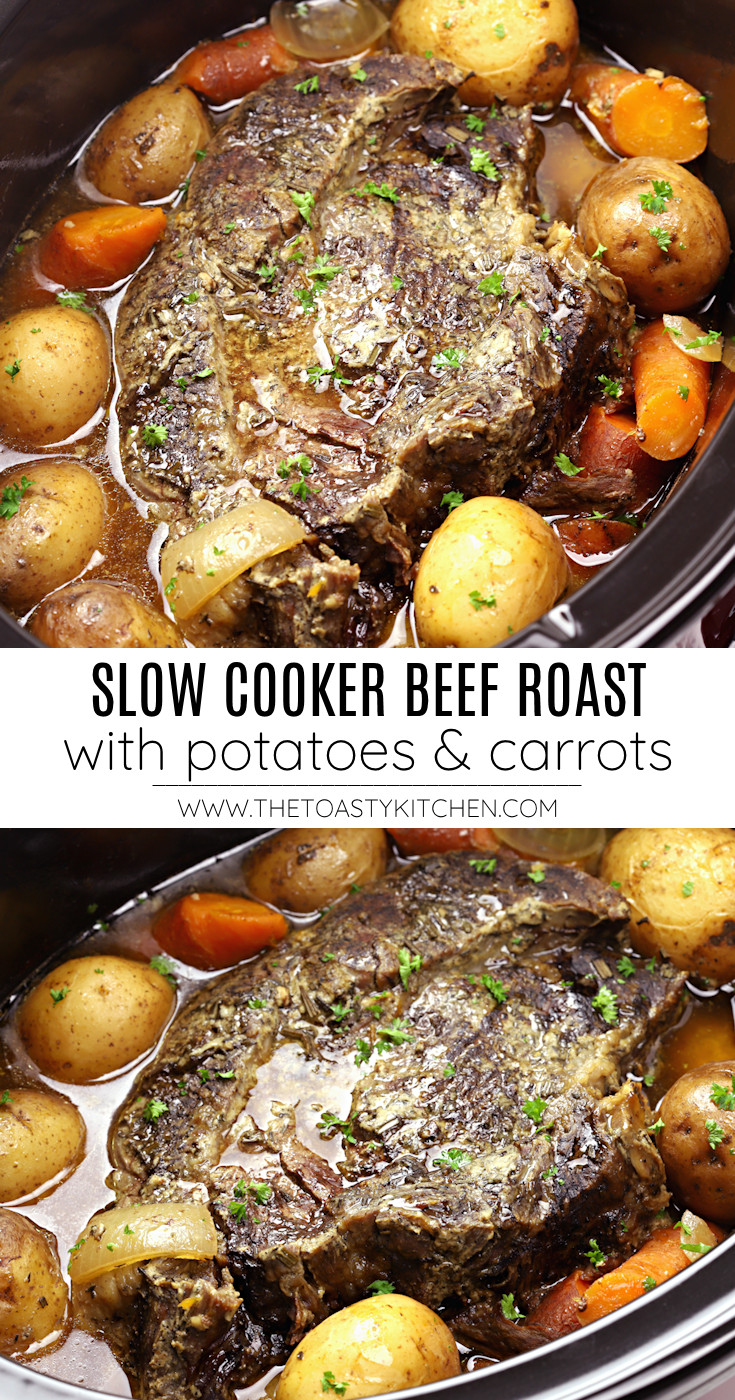 Slow cooker beef roast with potatoes and carrots recipe.