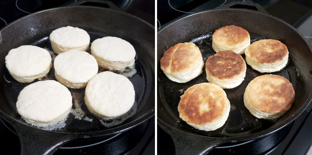 Biscuits cooking in a skillet on the stovetop.