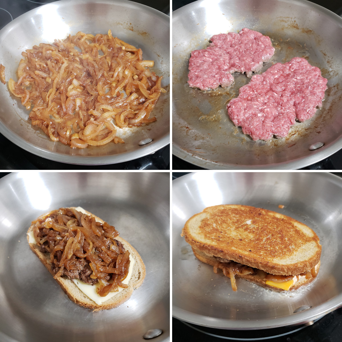 Cooking a patty melt in a skillet.